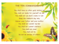A bright colourful poster of the Ten Commandments designed for children.  50cm x 35cm